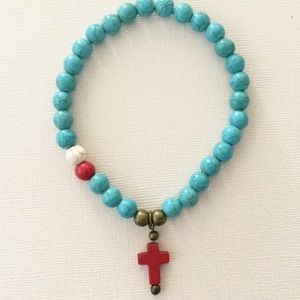 Alihunny Jewelry Jewelry - Turquoise Howlite Bead and Cross Charm Bracelet
